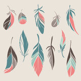 Vector set of hand drawn feathers. Set of different hand drawn feathers. Vector illustration royalty free illustration