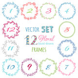 Vector set of hand-drawn floral frames. Royalty Free Stock Photo
