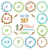 Vector set of 12 hand-drawn floral frames. Stock Photo