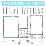 Vector set of hand drawn floral squared and rounded frames and decorative elements and ornaments. Stock Photos