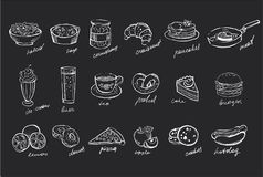 Vector set of hand drawn food and drinks on black chalkboard. Salad, soup, canned cucumbers, sweet desserts, fast food. Set of hand drawn food and drinks on stock illustration
