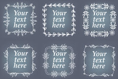 Vector set of hand drawn frames. Page decorations with floral elements Stock Images