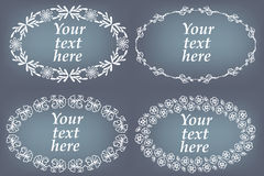 Vector set of hand drawn frames. Page decorations with floral elements Royalty Free Stock Photography