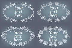 Vector set of hand drawn frames. Page decorations with floral elements Stock Photo