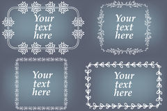 Vector set of hand drawn frames. Page decorations with floral elements Stock Photography