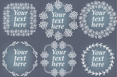 Vector set of hand drawn frames. Page decorations with floral elements Royalty Free Stock Images