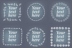 Vector set of hand drawn frames. Page decorations with floral and geometric elements Stock Photography