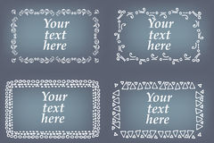 Vector set of hand drawn frames. Page decorations with floral and geometric elements.  Royalty Free Stock Images