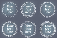 Vector set of hand drawn frames. Page decorations with floral and geometric elements Royalty Free Stock Photography