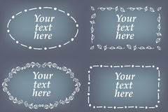 Vector set of hand drawn frames. Page decorations with floral and geometric elements.  Royalty Free Stock Photography