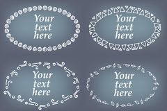 Vector set of hand drawn frames. Page decorations with floral and geometric elements Stock Photos