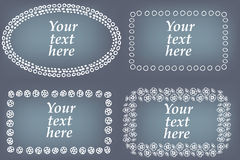 Vector set of hand drawn frames. Page decorations with floral and geometric elements.  Royalty Free Stock Photo