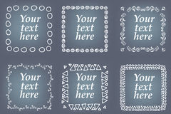 Vector set of hand drawn frames. Page decorations with floral and geometric elements Royalty Free Stock Photos