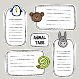 Vector set of hand drawn funny doodle tags with animals Stock Image