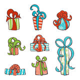 Vector set of hand-drawn gifts. Royalty Free Stock Image