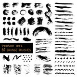Vector set of 61 hand-drawn grunge brushes Stock Photos