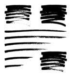 Vector set of hand drawn monochrome grunge smears, strokes and stains. vector illustration