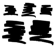 Vector set of hand drawn monochrome grunge smears, strokes and stains. royalty free illustration