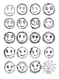 Vector set of hand drawn happy faces, smiles, moods isolated Royalty Free Stock Photography