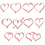 Vector set of hand drawn heart. Symbol of love. Element for Valentines Day design. Isolated on white background. Set of hand drawn heart. Symbol of love Royalty Free Stock Photos