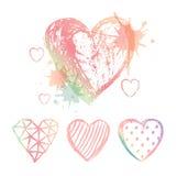 Vector Set hand drawn hearts Royalty Free Stock Photos