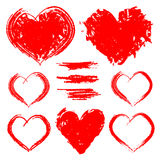 Vector set of hand drawn hearts isolated on white background Stock Photos
