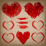 Vector set of hand drawn hearts on paper backgroun Stock Photos