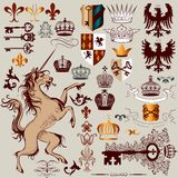 Vector set of hand drawn heraldic elements for design Stock Photography