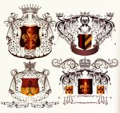 Vector set of hand drawn heraldic elements Royalty Free Stock Photos