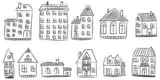 Vector set of hand drawn house Stock Images