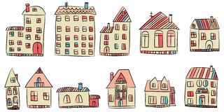 Vector set of hand drawn house Royalty Free Stock Photo