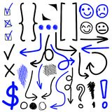 VECTOR set of hand drawn icons. Check, exclamation marks, circles, parentheses, arrows. Black and blue set. Isolated on white Stock Photo