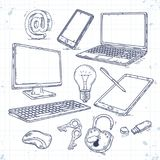 Vector set of hand drawn icons computer technology. Computer, laptop, tablet, smartphone, lock light Stock Photography