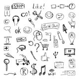 Vector set of hand drawn icons and design elements. Sketch style isolated on white background. Royalty Free Stock Photo