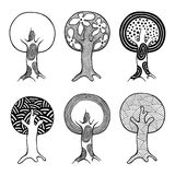 Vector set of hand drawn illustration, decorative ornamental stylized tree. Black and white graphic illustration isolated on the w Royalty Free Stock Image