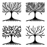 Vector set of hand drawn illustration, decorative ornamental stylized tree. Black and white graphic illustration isolated on the w Stock Image