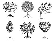 Vector set of hand drawn illustration, decorative ornamental stylized tree. Black and white graphic illustration isolated on the w Royalty Free Stock Images