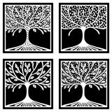 Vector set of hand drawn illustration, decorative ornamental stylized tree. Black and white graphic illustration isolated on the w Stock Photography