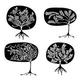 Vector set of hand drawn illustration, decorative ornamental stylized tree. Black and white graphic illustration isolated on the w. Hite background. Inc drawing Royalty Free Stock Image