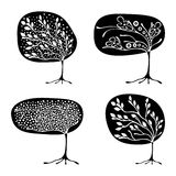 Vector set of hand drawn illustration, decorative ornamental stylized tree. Black and white graphic illustration isolated on the w. Hite background. Inc drawing vector illustration