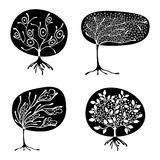 Vector set of hand drawn illustration, decorative ornamental stylized tree. Black and white graphic illustration isolated on the w. Hite background. Inc drawing Stock Photos