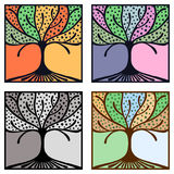 Vector set of hand drawn illustrations, decorative ornamental stylized tree. Graphic illustrations isolated on the white backgroun Stock Photos