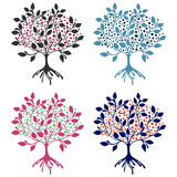 Vector set of hand drawn illustrations, decorative ornamental stylized tree. Graphic illustrations isolated on the white backgroun. D. Decorative artistic royalty free illustration