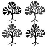 Vector set of hand drawn illustrations, decorative ornamental stylized tree. Graphic illustrations isolated on the white backgroun Royalty Free Stock Images
