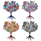 Vector set of hand drawn illustrations, decorative ornamental stylized tree. Graphic illustrations isolated on the white backgroun Royalty Free Stock Photos