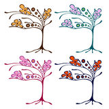 Vector set of hand drawn illustrations, decorative ornamental stylized tree. Graphic illustrations isolated on the white backgroun Royalty Free Stock Image