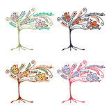 Vector set of hand drawn illustrations, decorative ornamental stylized tree. Graphic illustrations isolated on the white backgroun Stock Photo