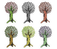 Vector set of hand drawn illustrations, decorative ornamental stylized tree. Graphic illustrations isolated on the white backgroun. D. Decorative artistic Stock Images