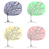 Vector set of hand drawn illustrations, decorative ornamental stylized tree. Graphic illustrations isolated on the white backgroun Stock Images