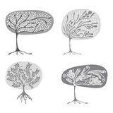 Vector set of hand drawn illustrations, decorative ornamental stylized tree. Graphic illustrations isolated on the white backgroun Stock Image